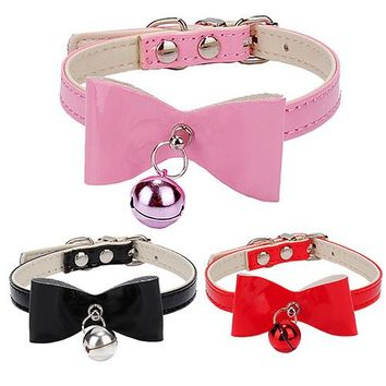 Adjustable Dog Puppy Pet Cat Collars Faux Leather Bowknot Buckle Necklace Bell Leash XS