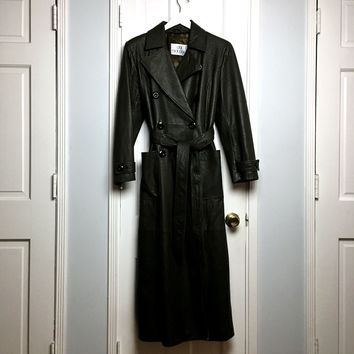 Authentic vintage 90s Gai Mattiolo olive leather women's trench coat sz M