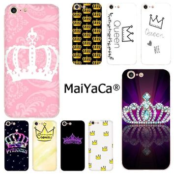 MaiYaCa Pink PRINCESS Queen boss crown king Luxury Fashion Phone Case for iPhone 8 7 6 6S Plus X 10 5 5S SE XS XR XS MAX cover