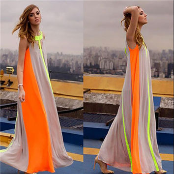 Hot Selling Indian Sleeveless Dress Maxi Chiffon Dresspatchwork Rainbow Vestidos Casual  Fashion Dress For Women Clothing 2016