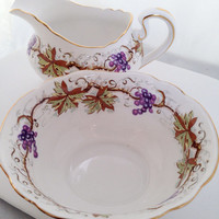 Grapevine Aynsley Cream & Sugar Set English Fine Bone China Vintage - ivy grape leaves leaf vines vine purple brown white - C1182 English