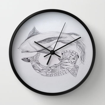 zentangle coy fish Wall Clock by Sweet Colors Gallery
