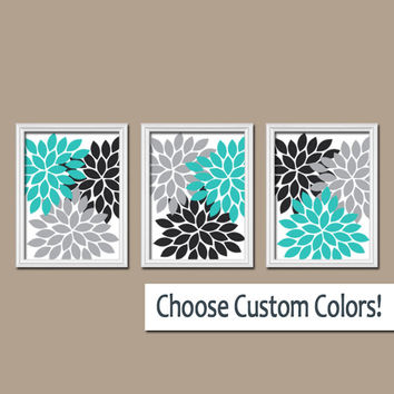 Wall Art Canvas Artwork Turquoise Black Gray White Flower Burst Dahlia Set Of 3 Trio Prints
