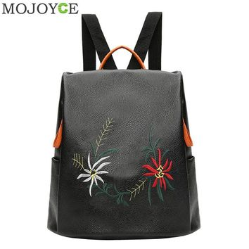 Women Embroidery Flower Backpack Autumn Winter All-Match PU Leather Shoulder Bag Soft Backpacks for Teenager Girls Travel Daybag