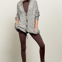 Mohair Button Front Hoodie Sweater