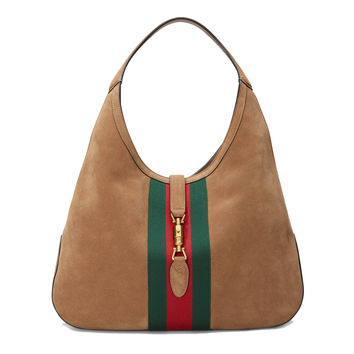 Gucci Jackie Soft Suede Hobo Shoulder Bag 362968 2877 Brown Taupe