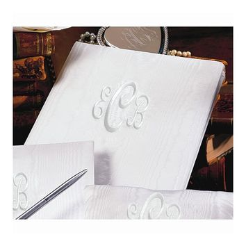 Ivory or White Moire Monogram (240 Signatures, 3 Ring Binder) Memory Book