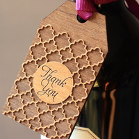 Wooden Gift Tags - QuatreFoil Gift Tag - Thank You Tags (Set of 6)