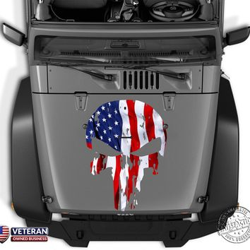 "Punisher Skull American USA Flag Hood Decal 16""-26"" Wide Fit Jeep Dodge Chevy"