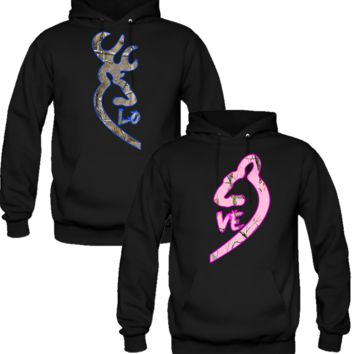 Browning Deer Love Couple Real Tree Camouflage Hoodie