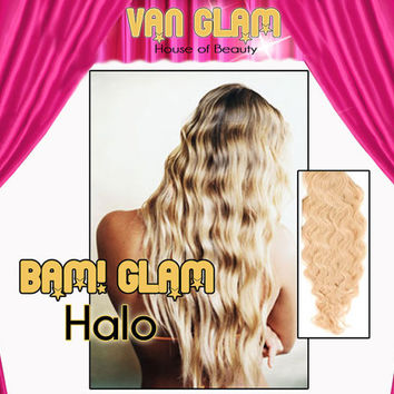 "BAM! Glam! Halo Hair Extensions 28"", Sunkissed Blonde, Body Wave,"