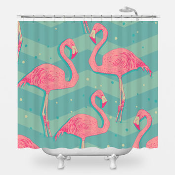 Flamingo Birds Shower Curtain