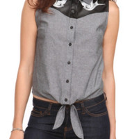 Chambray Swallow Tie Front Top