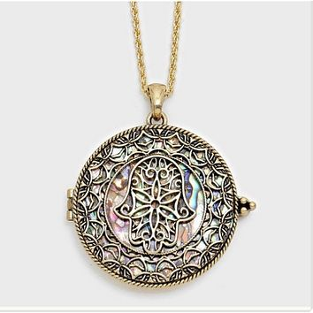 Hamsa Hand Magnifying Glass Necklace