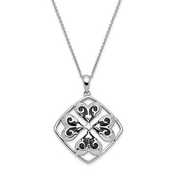 Rhodium Plated Sterling Wishing You Luck, Clover Necklace, 18 Inch