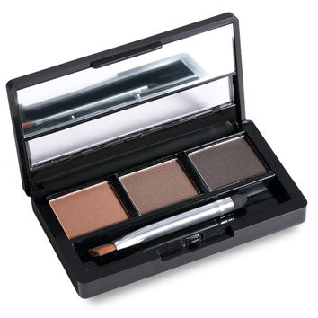 3 Colours Waterproof Powder Shadow Eyebrow Palette with Brush