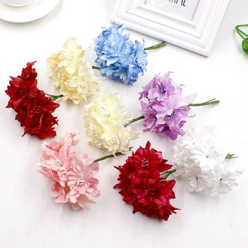 6 pieces 5cm Orchid Artificial Flowers Bouquet, Silk Lily Flower For Wedding Crown Scrapbooking Decoration Flowers