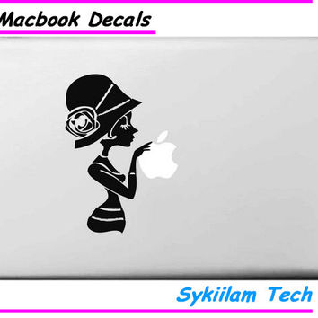 Fashional Little Lady Vinyl Sticker for Macbook Air 11 13 Pro 13 15 17 Retina for Apple Logo Pegatinas Laptop Computer Decal