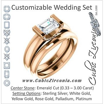 CZ Wedding Set, featuring The Tory engagement ring (Customizable Cathedral-style Bar-set Emerald Cut Ring with Prong Accents)