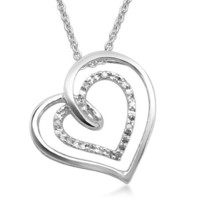 Sterling Silver Diamond Slanted Double Heart Pendant Necklace (0.02 cttw),18""