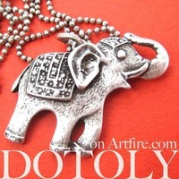 Happy Elephant Pendant Necklace in Silver | Animal Jewelry