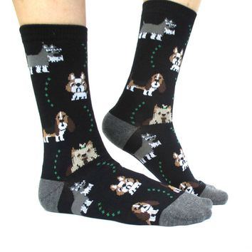 French Bulldog Cesky Yorkshire Terrier Basset Hound Novelty Dog Print Socks for Women in Black