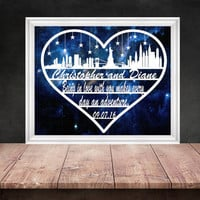 New York Papercut - New York Skyline - Engagement Gift - Paper Anniversary - New York Gifts - Engagement Cut Out - Paper Cut Art
