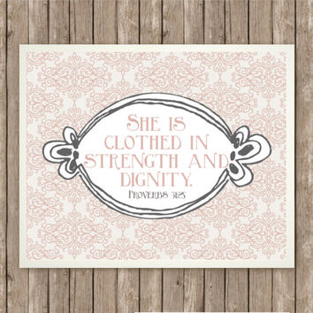 Proverbs 31:25 Scripture Art, Scripture Print, Instant Download, Praise and Worship, Bible Verse, Printable, Dusty Pink, Vintage Rose, Gray