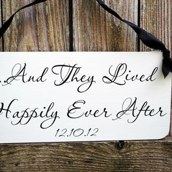 And They Lived Happily Ever After with Uncle Here Comes Your Bride wood wedding sign for Ring Bearer Flower Girl DOUBLE SIDED