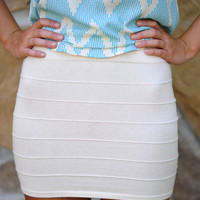 Banded With Love Skirt: Ivory | Hope's