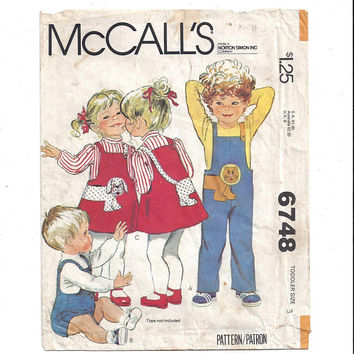 McCall's 6748 Pattern for Toddlers' Jumpsuit, Jumper, Appliques, FACTORY FOLDED, UNUCT, Size 3, From 1979, Vintage Pattern, Home Sewing