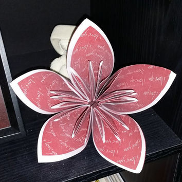 5 paper flowers, origami, bouquet, 6 inches in diameter each