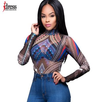 IDress Sexy Club Rompers Overalls for Women Leotard Combinaison Femme Print Autumn Winter Sheer Mesh Long Sleeve Bodysuit Women