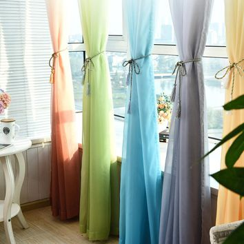Tulle Curtains Gradient Color Kitchen Decoration Window Treatments American Living Room Divider Sheer Voile curtain Single Pane