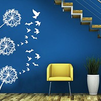 Birds Wall Decals Dandelion Sticker Flower Art Floral Design Home Decor Vinyl Decal Sticker Kids Nursery Baby Room Bedroom Decor C546