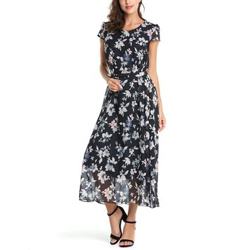Summer Boho Dress Women Vintage O-Neck Short Sleeve Floral Print Loose Chiffon Dress Elegant Casual Sashes Party Maxi Long Dress