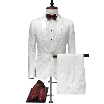 Suit Men 2017 Latest Coat Pant Designs White Wedding Tuxedos For Men Slim Fit Mens Printed Suits Brand Clothing