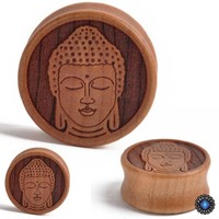 Wood Meditating Buddha Ear Plugs Tunnel Gauge