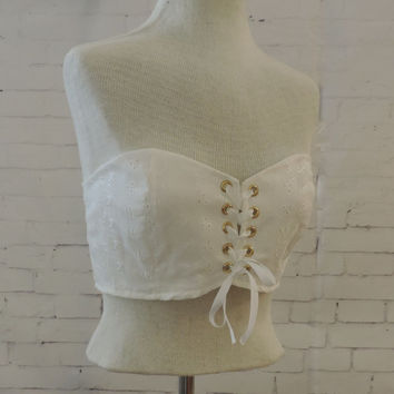Corset, bandeau tank top,boho white bandeau, edc rave raver bra, gogo dancer, fairy , cottage chic shabby chic counrty girl western wear