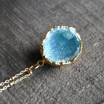 "Aqua Aura Druzy Geode, 24k Electroplated Gold Pendant on a 16"" inch 14k Gold Filled Bead Accented Chain with a Spring Clasp"