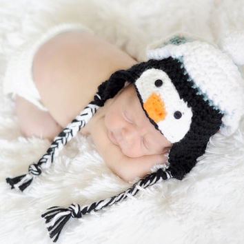 Crochet Penguin Hat Earflap Beanie, Newborn Penguin Hat, Animal Crochet Beanie, Photo Prop, Newborn Photography, Baby Shower Gift, Winter