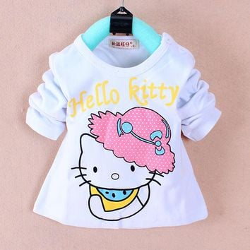 Fashion Baby Girl Clothes Tops tees for 1-3 years old Cotton O-neck full Sleeve Infant t-shirts A336