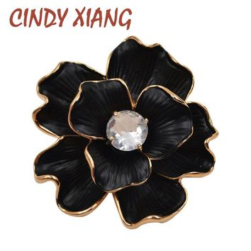 CINDY XIANG Black Color Zircon Flower Brooches Enamel Pin Badges Women's Brooch Pin Fashion Gothic Style Jewelry High Quality