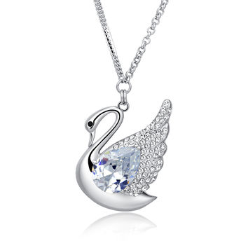 Swan Queen Swarovski Elements Crystal Long Chain Necklace - Clea c6d37cc89a