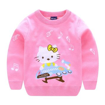 Sweaters For Girls With Cat Pattern Winter Children Pullover Knitted Girl Hello Kitty Sweater