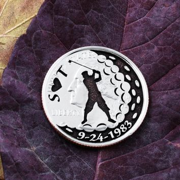 Custom Golf Ball Marker, Initials and date engraved
