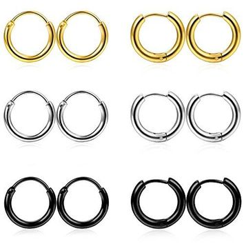 FIBO STEEL 6 Pairs Stainless Steel Cartilage Hoop Earring for Men Women Small Endless Hoop Earring Huggie 18G
