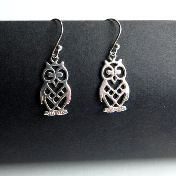 Little Owl Earrings.  Sterling Silver Drop Earrings. .925 Sterling Silver.