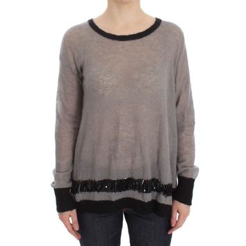 Costume National Gray Knitted Embellished Sweater