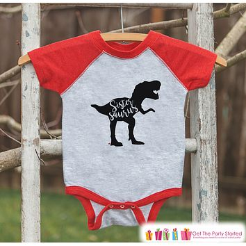 Girls Dinosaur Shirt - Sibling Shirts, Sistersaurus - Kids Red Raglan Shirt - Kids Baseball Tee - Sister Dinosaur Shirt - Toddler, Youth
